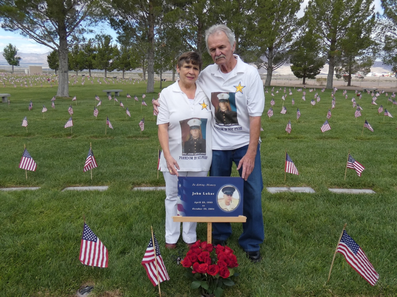 Memorial Day Event honoring Post 12093 namesake USMC PFC John Lukac. Shown is his parents Jon and Helena Lukac.